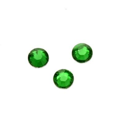 Камък акрил за лепене 6 мм кръг зелен прозрачен фасетиран -50 броя