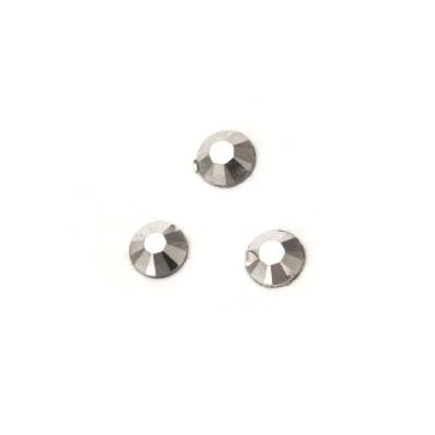 Камък акрил за лепене 4 мм кръг сребро плътен фасетиран -100 броя