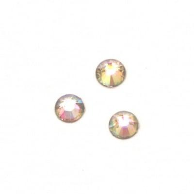 Камък акрил за лепене 5 мм кръг прозрачен дъга фасетиран -100 броя