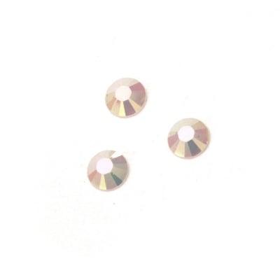 Камък акрил за лепене 4 мм кръг бял плътен дъга фасетиран -100 броя