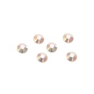 Камък акрил за лепене 5 мм кръг бял плътен дъга фасетиран -100 броя