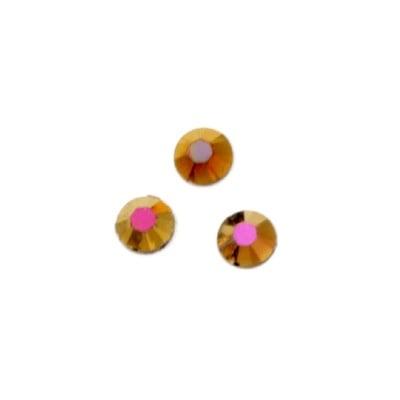 Камък акрил за лепене 5 мм кръг старо злато дъга фасетиран -100 броя
