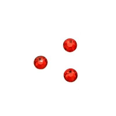 Камък акрил за лепене 4 мм кръг червен прозрачен фасетиран -100 броя
