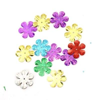 Пайети цвете 24 мм дъга АСОРТЕ - 20 грама