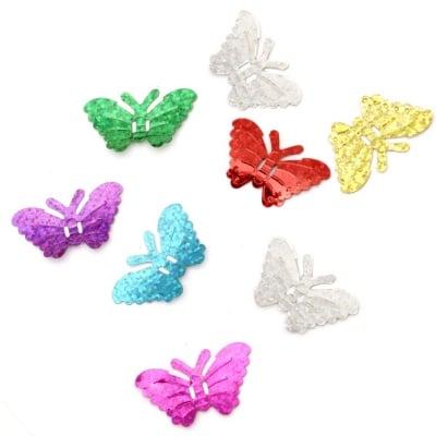 Пайети пеперуда 20x34 мм дъга АСОРТЕ - 20 грама