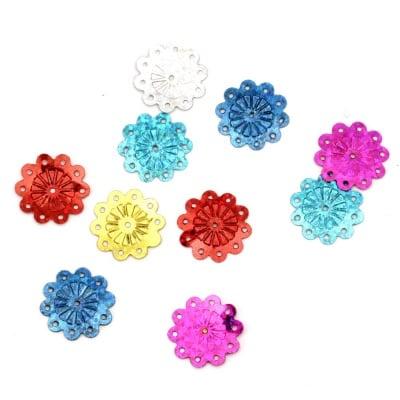Пайети цвете кръгло 18 мм дъга АСОРТЕ - 20 грама