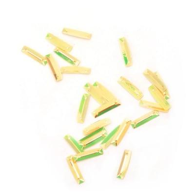 Пайети пластина 15х3 мм два отвора жълти дъга -20 грама