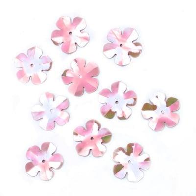 Пайети цвете 20 мм розови дъга - 20 грама