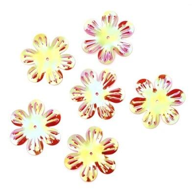 Пайети цвете 32 мм релеф червени дъга - 20 грама