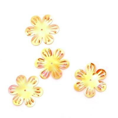 Пайети цвете 32 мм релеф оранжеви дъга - 20 грама