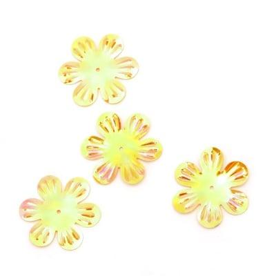Пайети цвете 32 мм релеф жълти дъга - 20 грама