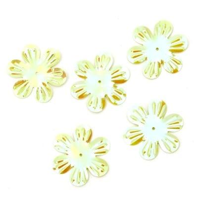 Пайети цвете 32 мм релеф зелени дъга - 20 грама