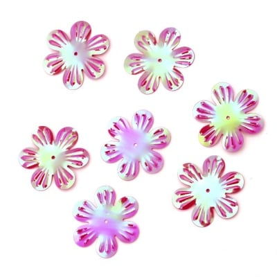 Пайети цвете 32 мм релеф циклама дъга - 20 грама