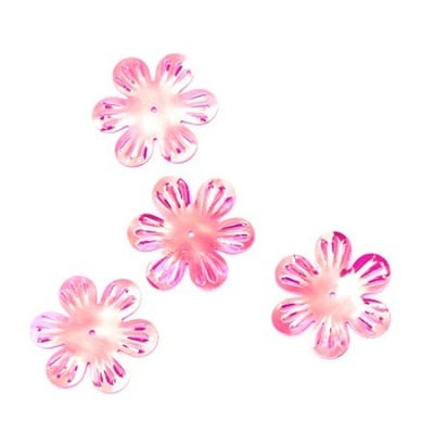 Пайети цвете 32 мм релеф розови дъга - 20 грама