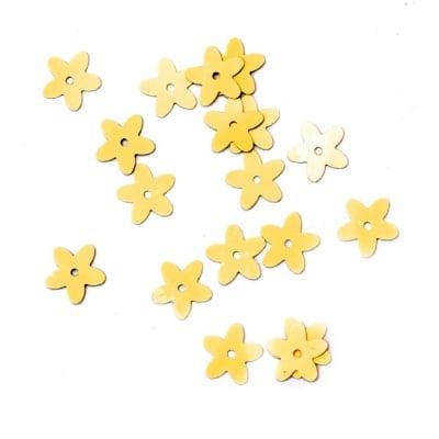 Пайети цвете 10 мм жълти дъга -20 грама