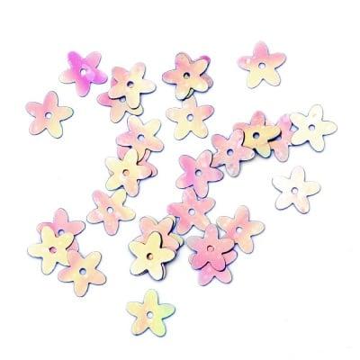 Пайети цвете 10 мм розови дъга -20 грама