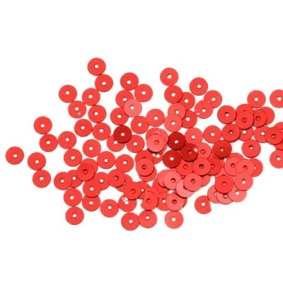 Пайети обли плоски 5 мм червени - 20 грама