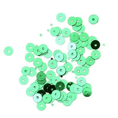 Пайети обли плоски 5 мм зелени - 20 грама