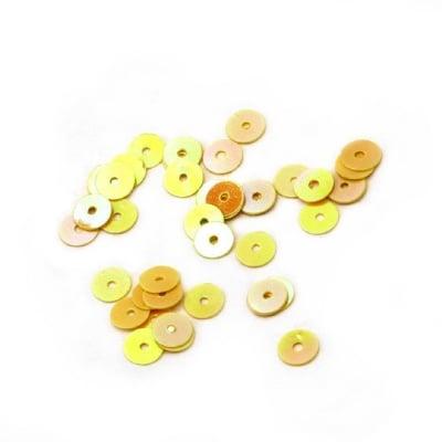 Пайети обли плоски 5 мм жълти дъга - 20 грама