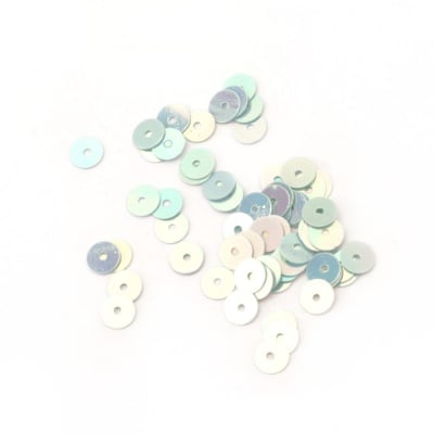Пайети обли плоски 5 мм сини дъга - 20 грама