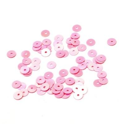 Пайети обли плоски 5 мм розови дъга - 20 грама