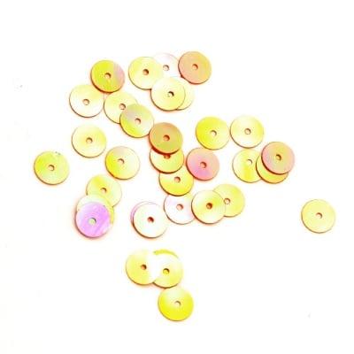 Пайети обли плоски 6 мм оранжеви дъга - 20 грама