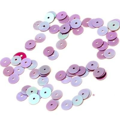 Пайети обли плоски 6 мм лилави дъга - 20 грама