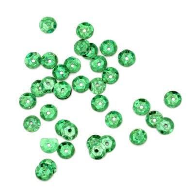Пайети обли 6 мм зелени дъга - 20 грама