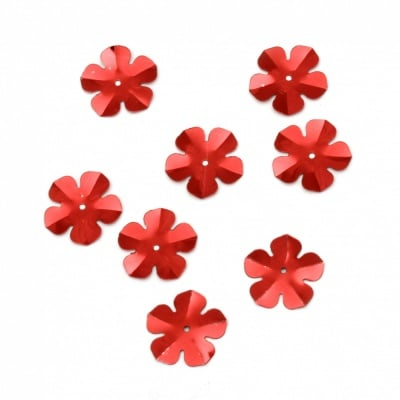 Пайети цвете 20 мм червени - 20 грама