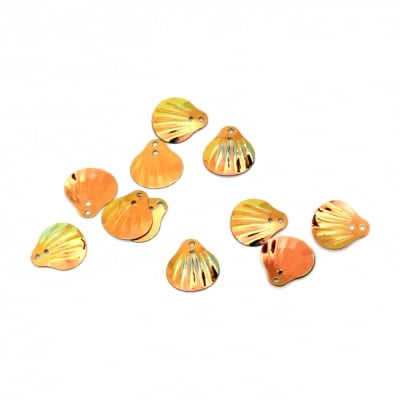 Пайети мида 14x13 мм оранжеви дъга - 20 грама
