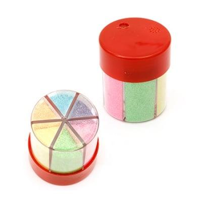Брокат в бурканче/солничка 6 цвята дъга по ±12.5 грама