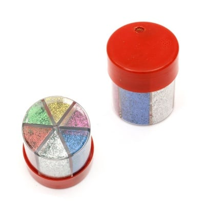 Брокат едър в бурканче/солничка 6 цвята по ±12.5 грама