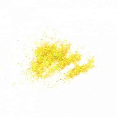 Брокат/глитер на прах 0.3 мм 250 микрона жълт лимонено холограмен/дъга -20 грама