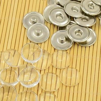 Комплект метална основа за Тик-так копче 18 мм и кабошон прозрачен