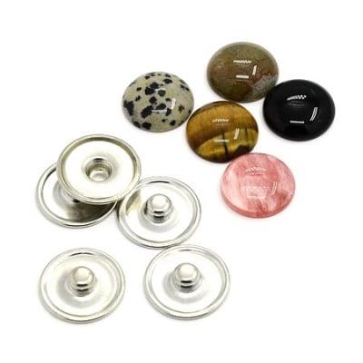 Комплект метална основа за Тик-так копче 18 мм и кабошон естествен камък АСОРТЕ