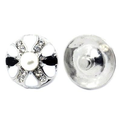 Копче Тик-так 25x23x12 мм метал с кристали и перла АСОРТЕ