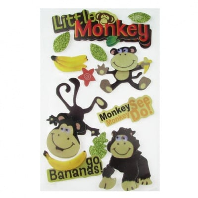 Самозалепващи стикери 3D с брокат маймуни