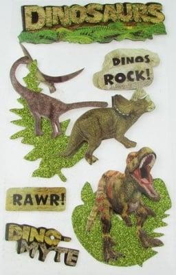 Самозалепващи стикери 3D с брокат динозаври