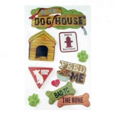 Самозалепващи стикери 3D с брокат dog house