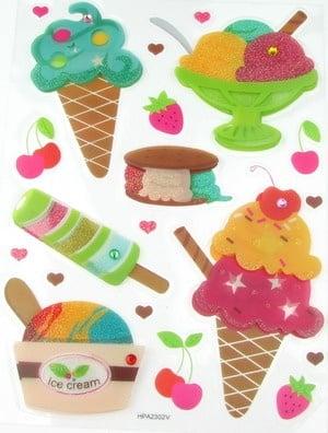 Самозалепващи стикери pvc 3D с брокат сладолед