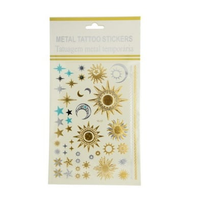 Хартиени стикери, временни татуировки, metalic 12~69x12~69 мм -46 броя