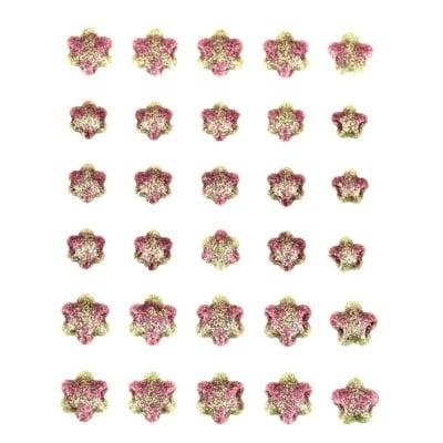 Емайлирани самозалепващи стикери с брокат цвете 10~14 мм -30 броя