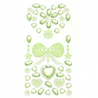 Самозалепващи камъни акрил сърце и панделка цвят зелен