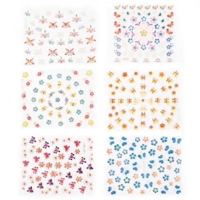 Стикери за декорация 3D цветя с пеперуди микс
