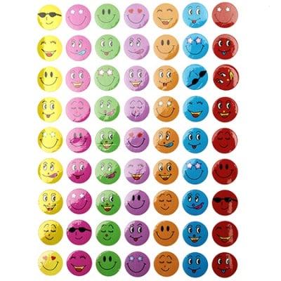 Самозалепващи стикери усмивки 10 листа x 63 броя
