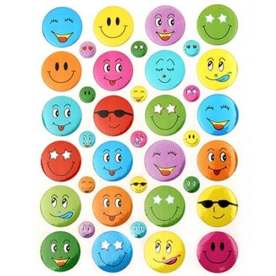 Самозалепващи стикери 7~18 мм усмивки микс 10 листа x 38 броя