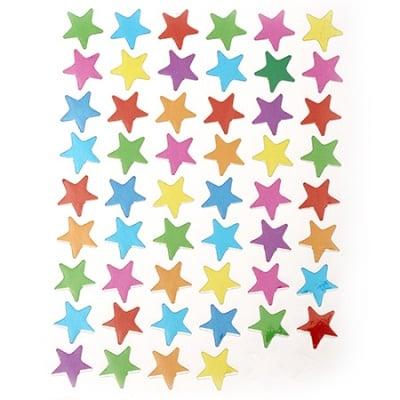Самозалепващи стикери 12 мм звезди микс 10 листа x 54 броя