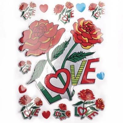 Самозалепващи стикери рози надпис LOVE 10 листа
