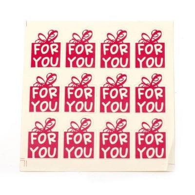"""Самозалепващи стикери """"FOR YOU"""" 35x25 мм цвят розов -12 броя"""