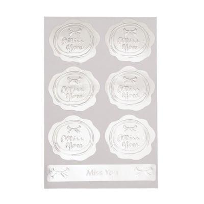 Самозалепващи стикери цвете и дума 39x40 мм цвят сребро -7 броя